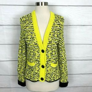Rag & Bone Viola Knit Cardigan Yellow Black Size S